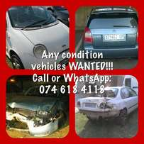 Accident damaged and non running vehicles wanted urgently.