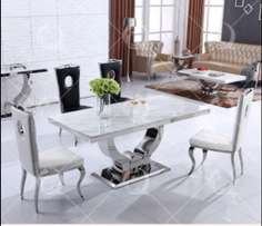 Executive cream dining by six with six chairs