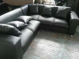 New plain black sofas