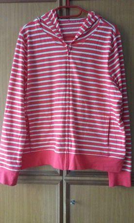 3cca7452633cdd Rozpinana bluza z kapturem, koralowa w białe paski, Yessica XL Katowice -  image 1