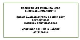 Rooms to let Inanda This June