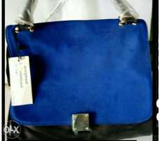 Blue suede leather bag