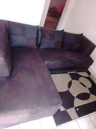 Black Leather And Suede L Shaped Couch