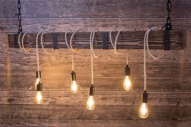 Lampa Z Drewnianej Belki 150 Cm Rustykalne Oświetlenie łódź