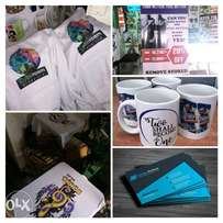 Business cards from 3bob, Banners & Stickers T-shirts etc.