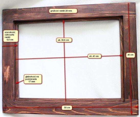 Oryginał Drewniana rama na obraz ramka rzeźbiona 30x40 płaskorzeźba KU07