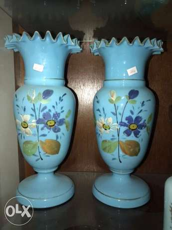vases antiques french opaline pair