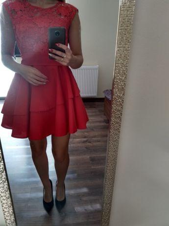 Czerwona rozkloszowana sukienka S Wyszków • OLX.pl