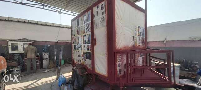 Mobile caravan with room and toilet and kitchen outside