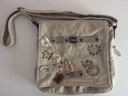 32cc2ced430fd Beżowa toupe torba torebka płócienna DOLCE   GABBANA ozdobna na pasku