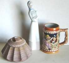 Three attractive ornaments, Beer Stein, Goose Lady, Stone Trinket Box.