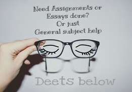 assignments, essays, homework, or just general tutoring