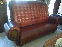 Large Leather KUDU Designer Couch..One of a kind With Highback!!