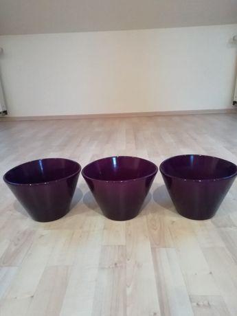 Duże Doniczki Ceramiczne Fioletowe 3 Szt Podkładki Na Stół
