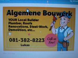 Building, Demolition, Plumbing, Roofs, Painting, Tiling, Steelwork..