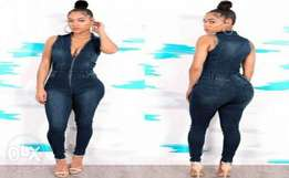 Zipped Up Denim Jumpsuit with Colla