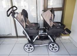 Twin cots and pram for sale