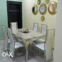 Pure Marble Dining Table And Six Chairs