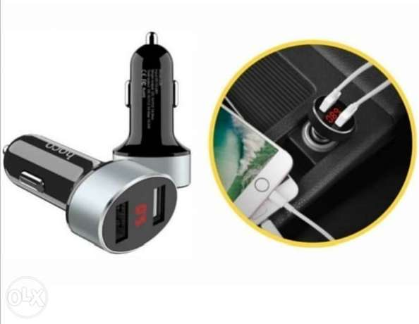 HOCO Z-26 Digital Display Car Charger With Dual USB Port