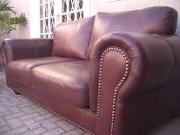 Red burgundy Windsor FULL LEATHER studded leather lounge suite, 2 larg