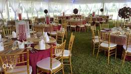 Gold, white , clear chiavari and dior for hire