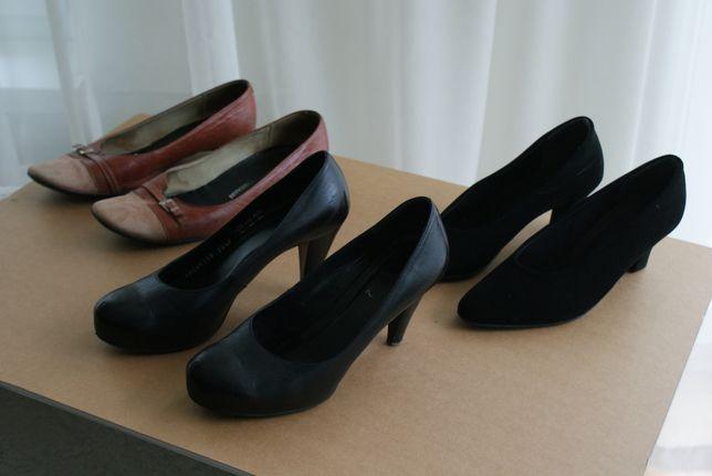 97a73516 3 pary buty / czółenka / baleriny / koturny / skóra naturalna/nubuk 38 -