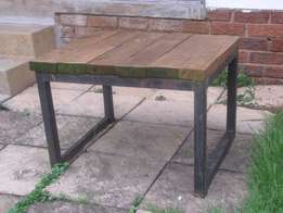 Braai table with metal frame and wooden top