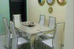 Marble dinning table by6 with chair