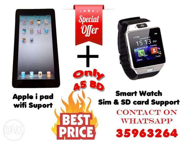 Apple wifi Tab + Smart watch.. Only for 45BD