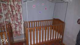 3 pieces of creche bed with foam