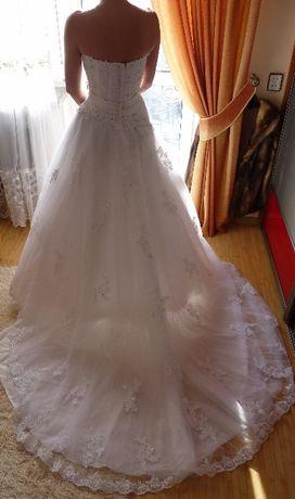 Piękna Biała Suknia ślubna Z Długim Podpinanym Trenem Tanio Nowy