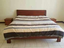 Complete 6 by 6 mahogany bed with mattress at 45k