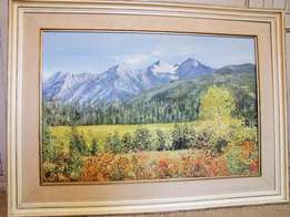Framed Original Oil Painting by June Tucket - Montana mountains