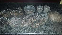 Vintage cut glass bowls and dishes