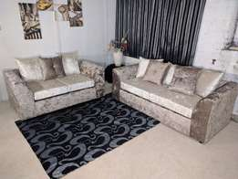 L's glittering fabric sofas made on order.
