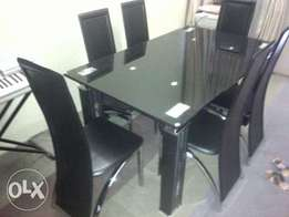Quality imported dining table black with six chairs(T7658)