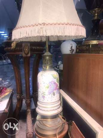 English signed antique porcelain lamp
