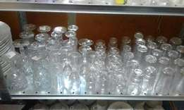 Ex German Heavy Crystal Clear wine and water set of glasses from 3500