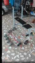 Bench, barbell, ez bar, set of dumbbells and weights