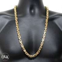 Gold Stainless Steel – 9mm Byzantine Stainless Necklace