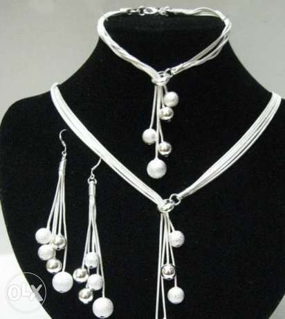 Polished Finished Pendant Necklaces Drop Earrings Silver Plated Beads Gigiri - image 1