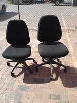 Black office chairs ON WHEELS