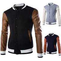 Cool jacket with leather sleeves