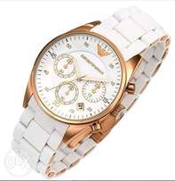 Emoprio Armani 5858 White and gold with chronograph function