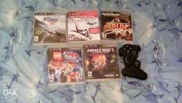 5 ps3 games plus one controller plus two free games