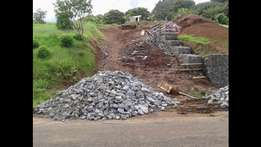 Wall made of Stones in a Wire Box.Retaining Wall Builder Durban