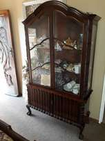 Antique Ball & claw display cabinet