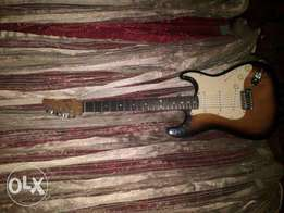 fender squir bullet electric guitar with black soft carry case