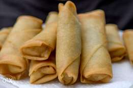 raw home made frozen chicken spring rolls