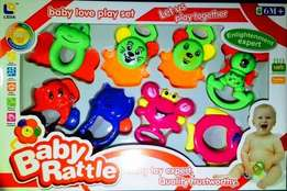 Baby rattle set with teethers